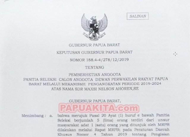 SKEP pemberhentian anggota Pansel DPRPB