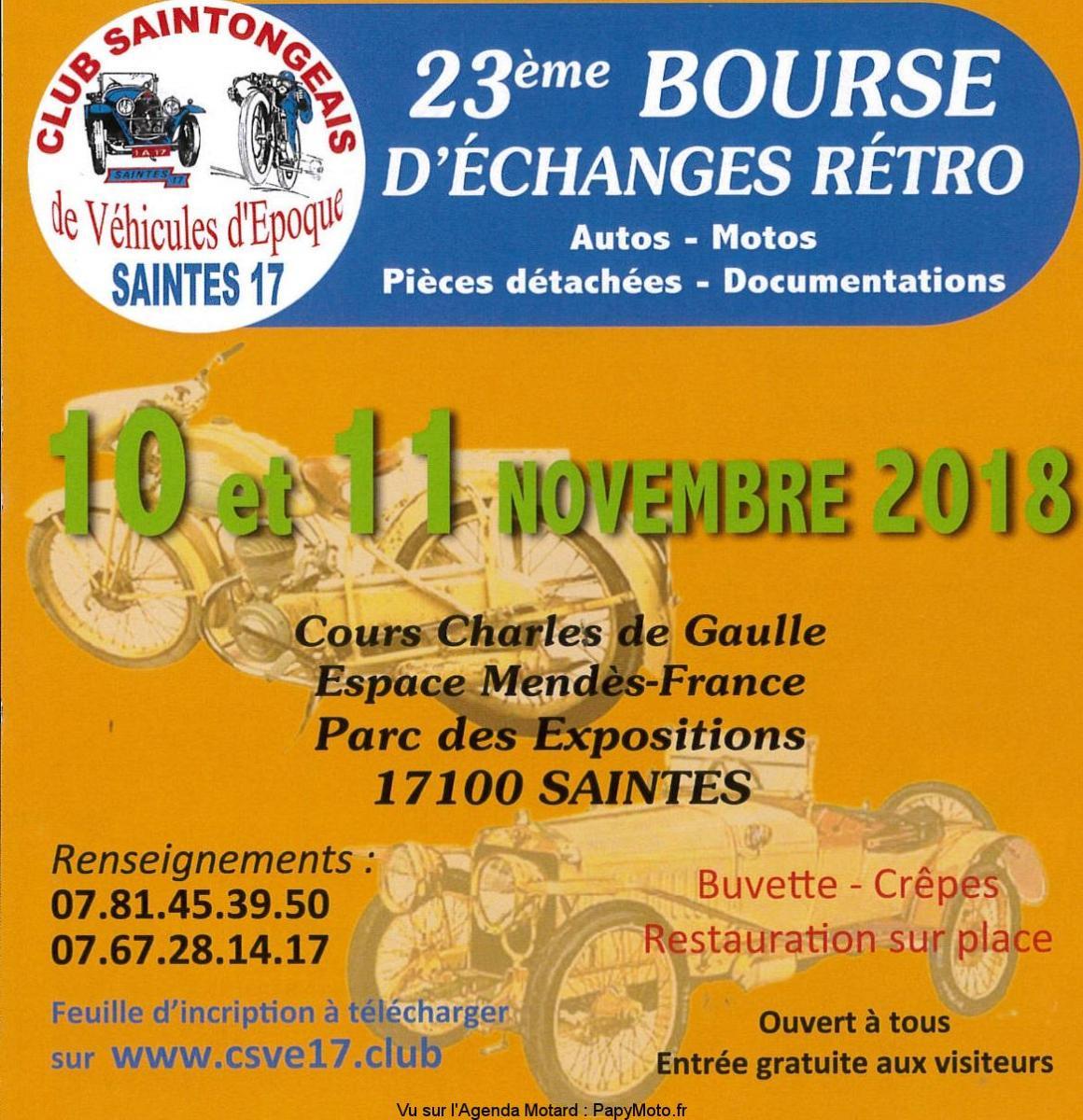 23e Bourse d'échanges Rétro Auto Motos - Saintes (17)
