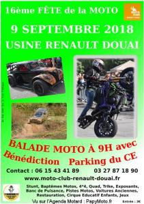 16e Fête de la Moto – Douai (59) @ Parking CE Renault | Douai | Hauts-de-France | France