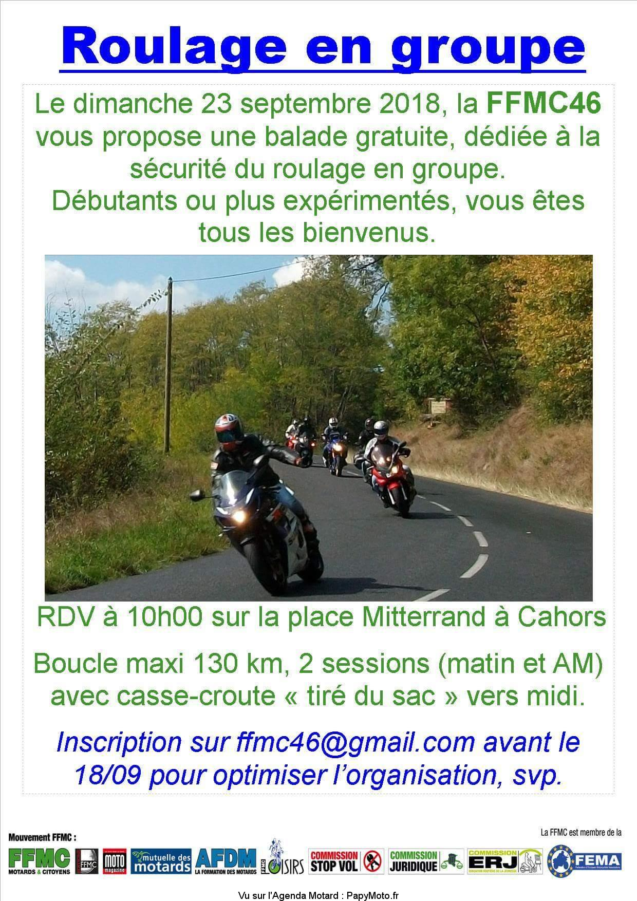 Roulage en groupe – FFMC 46 – Cahors (46)