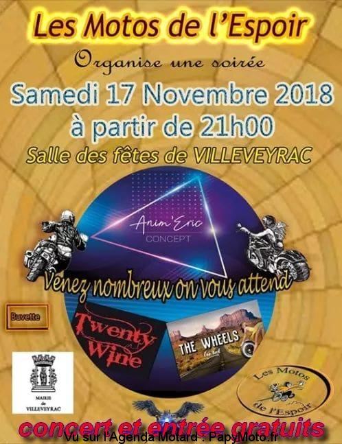 Soirée - Les Motos de l'Espoir - Villeveyrac (34)