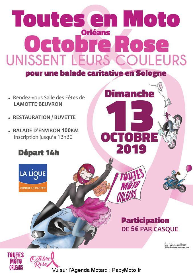 Balade caritative en Sologne – Toutes en Moto Orléan – Octobre Rose – Lamotte-Beuvron (41)
