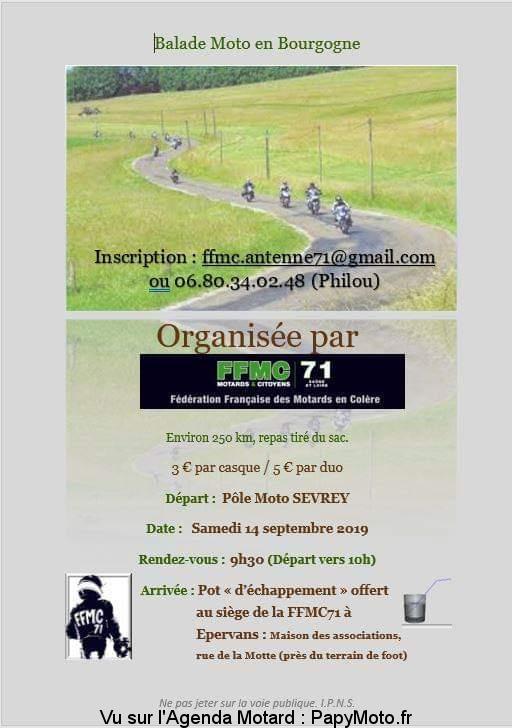 Balade moto en Bourgogne – FFMC 71 – Epervans (71)