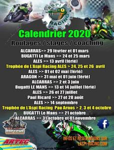Calendrier 2020 Roulages Stages Coaching - L'Aspi Racing