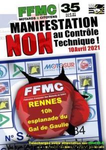 Manifestation NON au contrôle Technique - FFMC 35 - Rennes (35) @ Rennes (35)