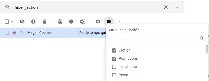capture d'écran explicative pour changer de libellés dans Gmail site : https://par-le-temps-qui-court.fr de Magali Cochez
