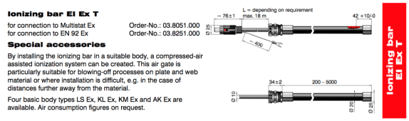 EI EX Ionizing Bar Dimensions