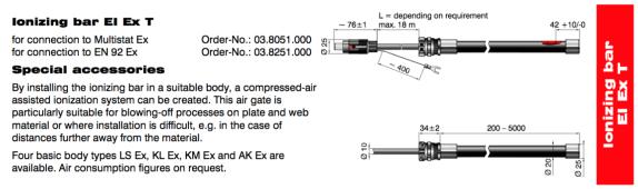 EI EX Ionizing Bar Dimensions