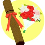卒業証書と花束(JPEG)