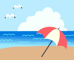 海とパラソル(PNG)