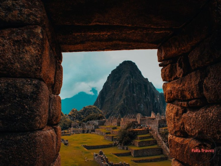 Huayna Picchu through ruins