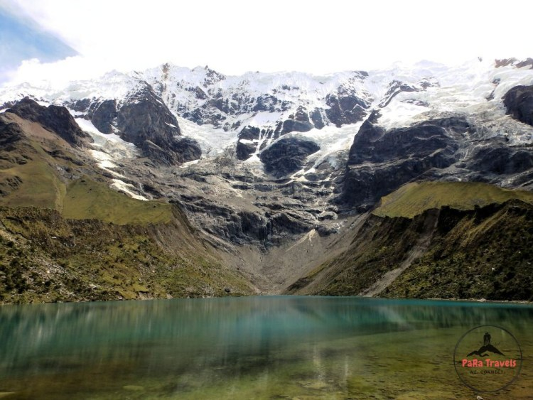 Humantay lake with snowed peaks