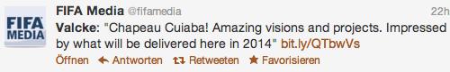 Valcke twittert über Besuch in Cuiabá