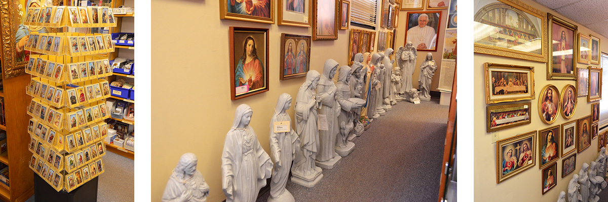 Saint Cards, Statues, and Sacred Heart Images
