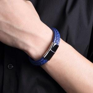 Blue Leather Rope Bracelet