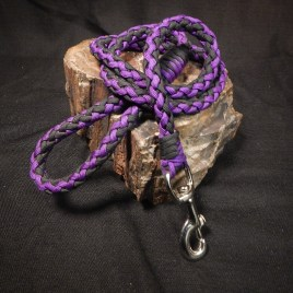 Black and Acid Purple Paracord Dog Leash