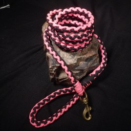 Neon Pink and Black Paracord Dog Leash