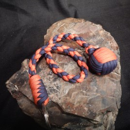 Orange and Blue Monkey Fist Keychain