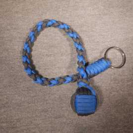 Blue and Charcoal Monkey Fist Key Chain