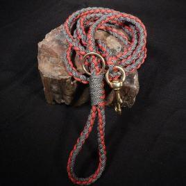 Paracord Dog Leash Red Charcoal Black Diamond