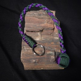 Emerald Green and Acid Purple Monkeyfist Keychain