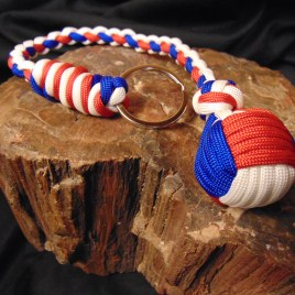Paracord Key chain Monkeyfist Red, White and Blue