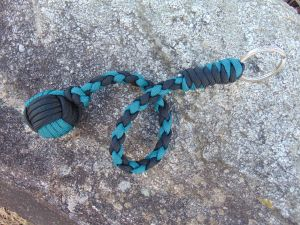 teal and Black monkey fist