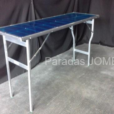 Mesas de aluminio con resina azul MOD-6