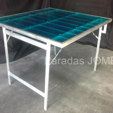Mesa plegable de aluminio con resina azul MOD-5