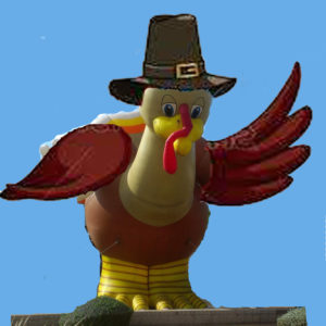 wild brown turkey shape cold air inflatable for parades