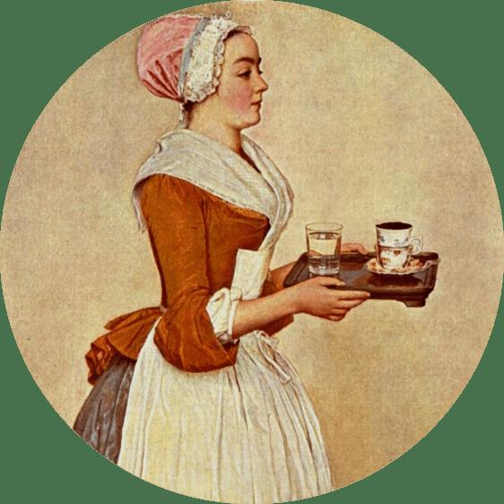 Servante portant du chocolat