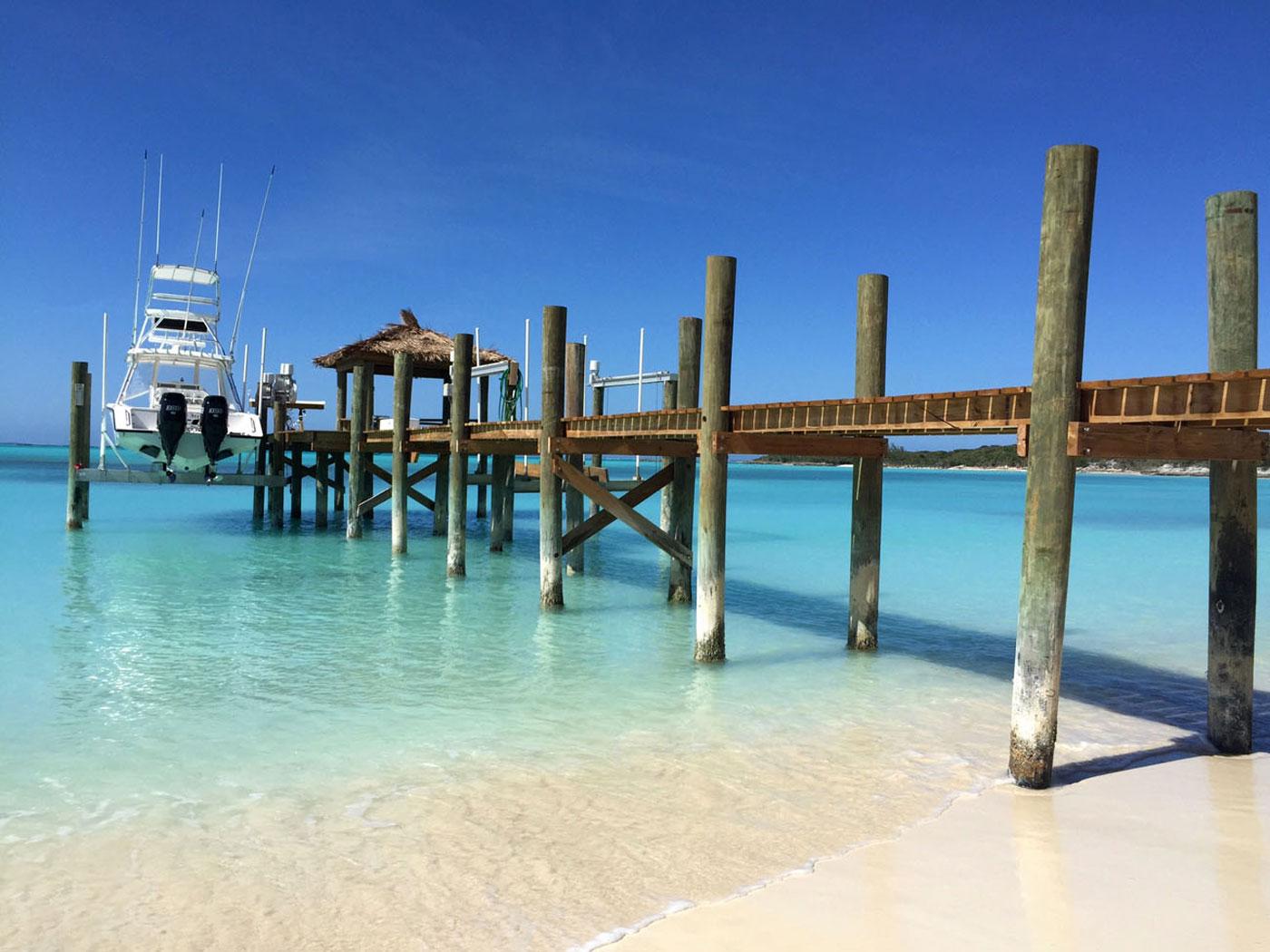 dock on turtles beach in exuma