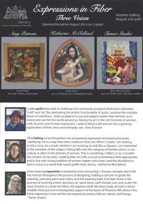 August in the Hosmer Gallery: Fiber Arts