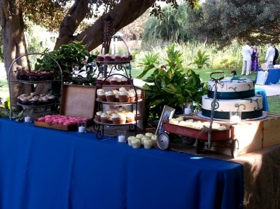 Dessert table - how cute is the little red wagon?