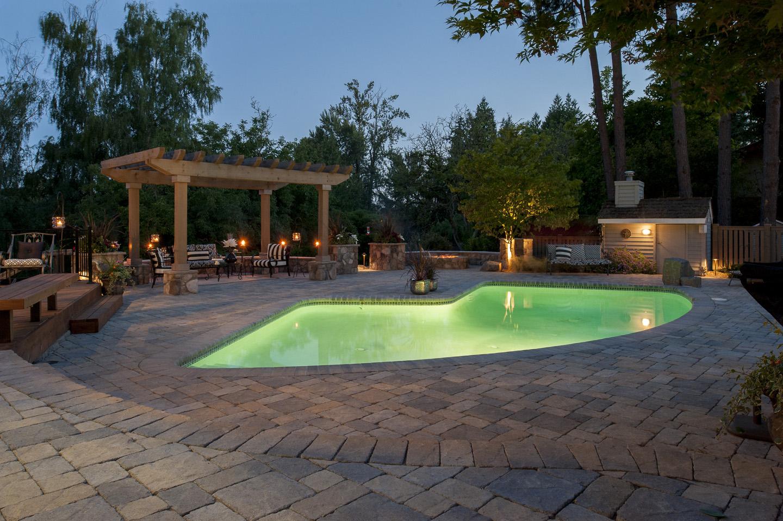 pool spa lighting paradise restored landscaping