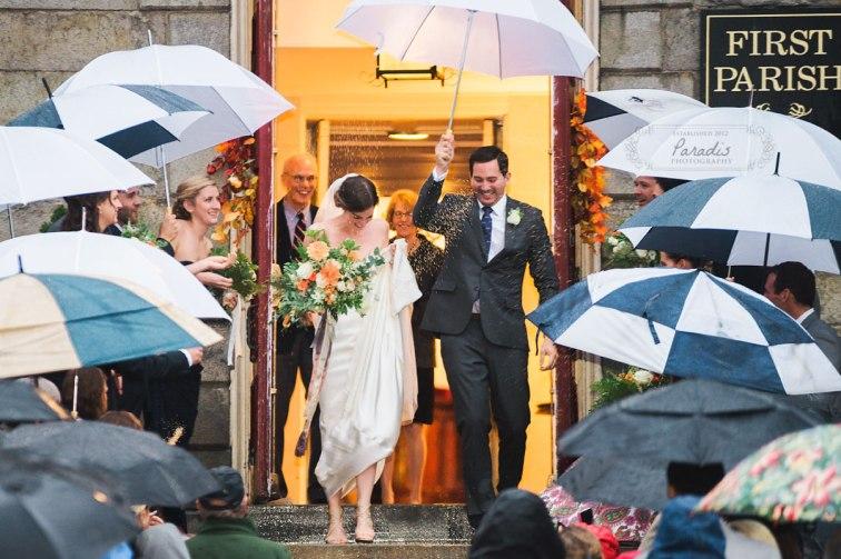First Parish Portland Maine Wedding Recessional Umbrellas Rain