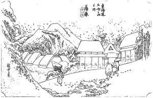 浮世絵 ukiyo-e 塗り絵 coloring 歌川広重 東海道五十三次 Hiroshige_Kanbara, Evening Snow-01-rinkaku01