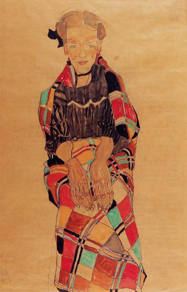 エゴン・シーレ Egon Schiele_Girl in Black Pinafore
