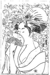 喜多川歌麿 Kitagawa Utamaro 塗り絵 coloring 浮世絵 ukiyo-e_Woman with Comb-rinkaku01
