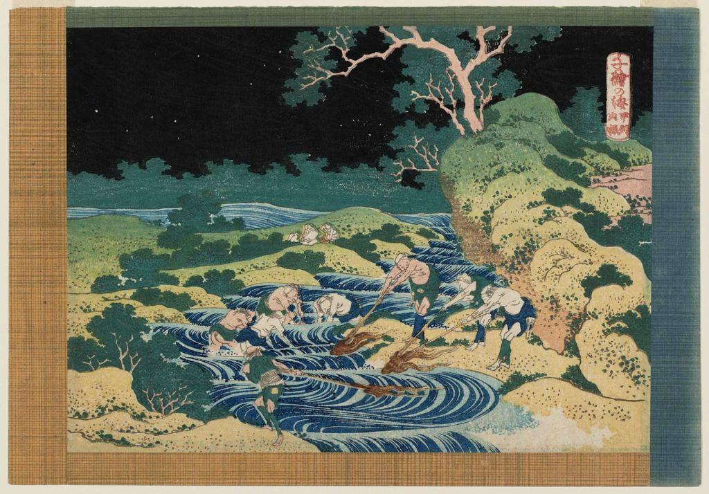 葛飾北斎 Katsushika Hokusai_千絵の海 甲州火振 Fishing by Torchlight in Kai Province