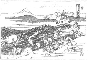 葛飾北斎 Katsushika Hokusai 塗り絵_Fuji from Kanaya on the Tokaido-rinkaku03