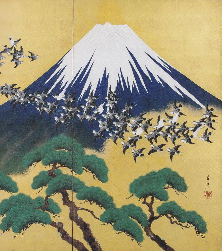鈴木其一 Suzuki Kiitsu 富士千鳥筑波白鷺図屏風 mount-fuji-with-plovers-01