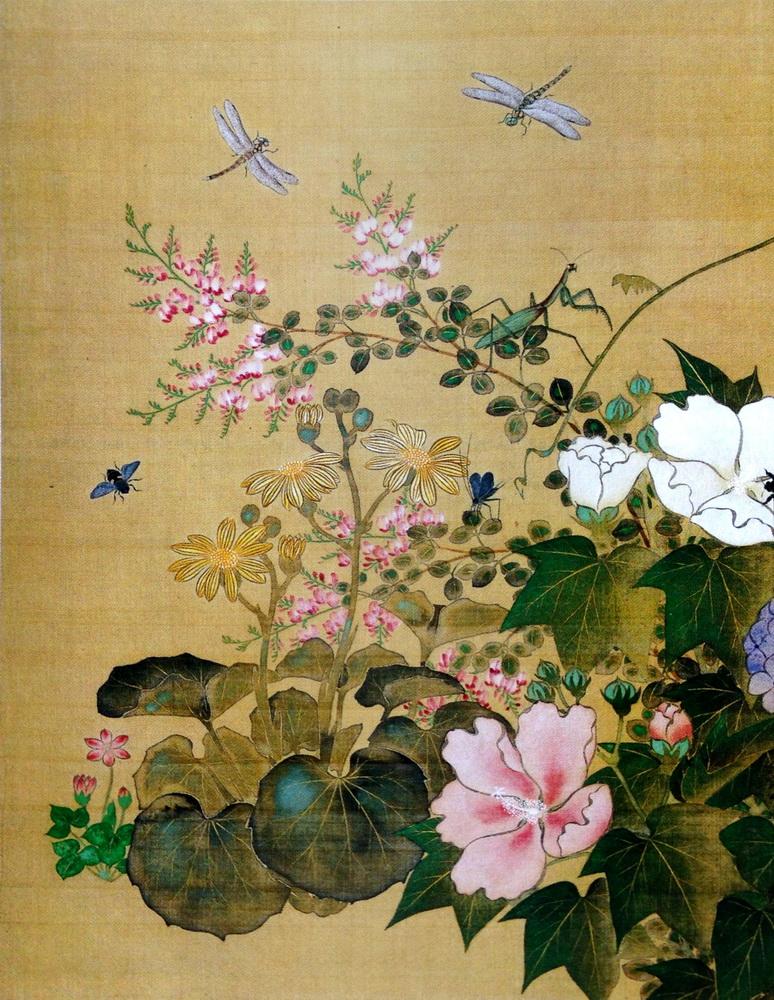 市川其融 Ichikawa Kiyu 四季草花虫図 Flowers, Grasses and Insects of the Four Seasons