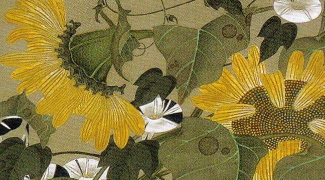 伊藤若冲 Ito Jakuchu 動植綵絵 colorful realm: japanese bird-and-flower paintings by itō jakuchū 向日葵雄鶏図 Himawari Yukei-zu(Rooster and Sunflowers)