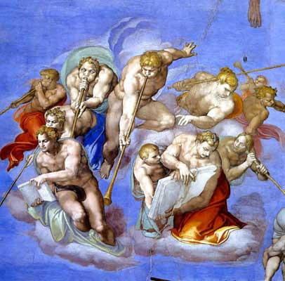 ミケランジェロ『最後の審判』ラッパを吹く天使