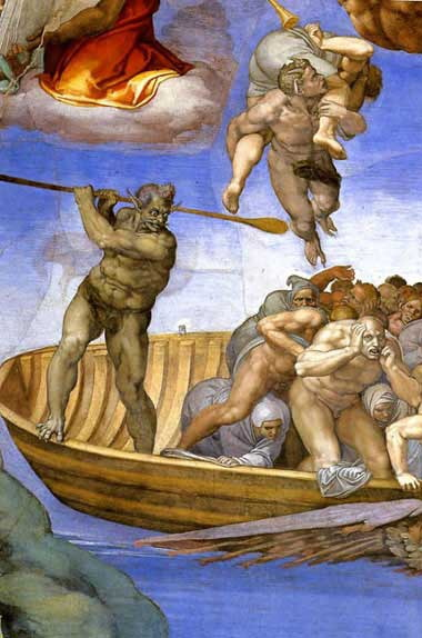 ミケランジェロ『最後の審判』罪人を運ぶ川の渡し守カロン