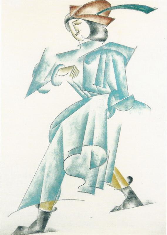 リュボーフィ・ポポーワ Popova_羽根つき帽子と緑衣を纏った男:戯曲「大臣と組立工」衣装デザイン Man in green_Romeo and Juliet-001
