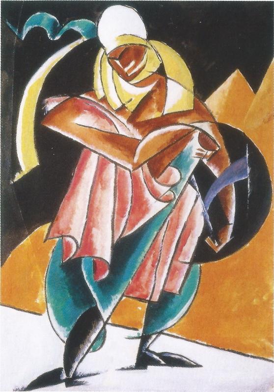 リュボーフィ・ポポーワ Popova_ひるがえるスカーフの女:戯曲「高僧タルクイニウス」衣装デザイン soldier with a billowing scarf-001