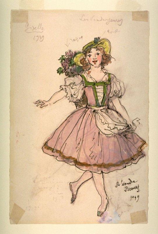 アレクサンドル・ベヌア_Alexandre Benois_Александра Бенуа_バレエ「ジゼル」衣装デザイン_Giselle-Costume for a Female Grape Picker