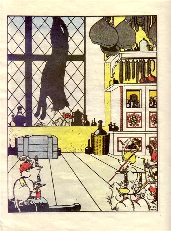 ゲオルギー・ナールブト_Georgy Narbut_Георгий Нарбут_「どうやってネズミがネコを埋葬するか」(ジュコフスキー作)のためのイラスト_how-mice-buried-the-cat-01